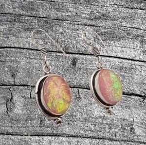 Sterling silver pink triplet opal dangle earrings